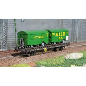 Ree modeles WB620 Wagon UFR Biporteur brun, 2 remorques fourgons SOTRALEST