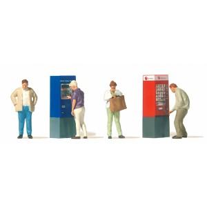 Preiser 10751 Personnages, 4 personnages et  2 distributeurs automatiques