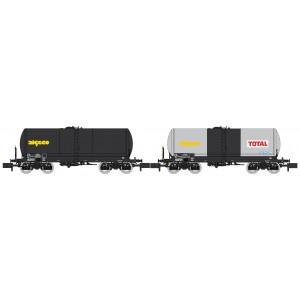 REE Modeles NW225 Set de 2 wagons citernes ANF, Transport de Produits pétroliers, SNCF, ALGECO / ALGECO TOTAL