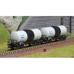REE Modeles NW230 Set de 2 wagons citernes ANF, Transport de Lubrifiants, SNCF, MILLET