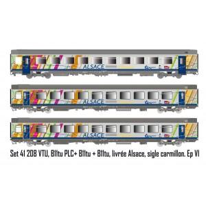 LS Models 41208 Set de 3 voitures Vtu VTU, B11tu PLC+ B11tu + B11tu, livrée Alsace, SNCF, logo carmillon