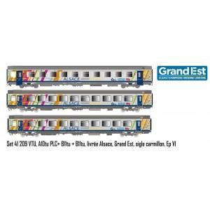 LS Models 41209 Set de 3 voitures Vtu VTU, A10tu PLC+ B11tu + B11tu, livrée Alsace, Grand Est, SNCF, logo carmillon