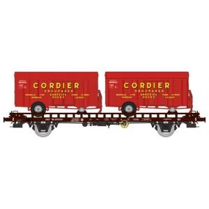 Ree modeles WB638 Wagon UFR Biporteur frein vis HRv brun, remorques fourgons CORDIER