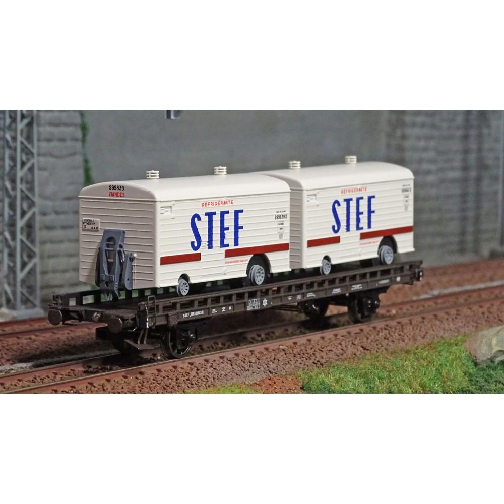 Ree modeles WB636 Wagon UFR Biporteur HR brun, remorques réfrigérante STEF