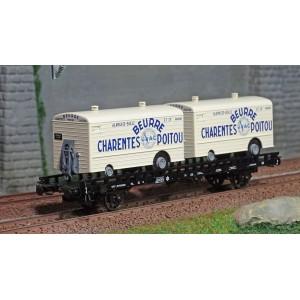 Ree modeles WB637 Wagon UFR Biporteur HR brun, remorques réfrigérante Beurre CHARENTES-POITOU