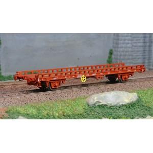 Ree modeles WB640 Wagon UFR Biporteur, frein à vis, Rouge UIC, vide