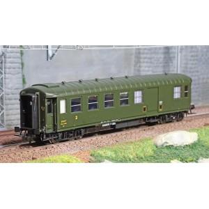 Ree modeles VB415 Voiture voyageurs métallisées Ex-PLM, SNCF, B4D n°54236, vert 306, feux fin de convoi, ep. III