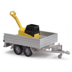 Busch 44933 Remorque 2 essieux avec plaque vibrante