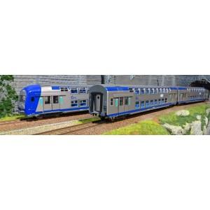 ViTrains 1104L Set de 3 voitures voyageurs VO2N SNCF, livré TER, Région Centre, avec éclairage