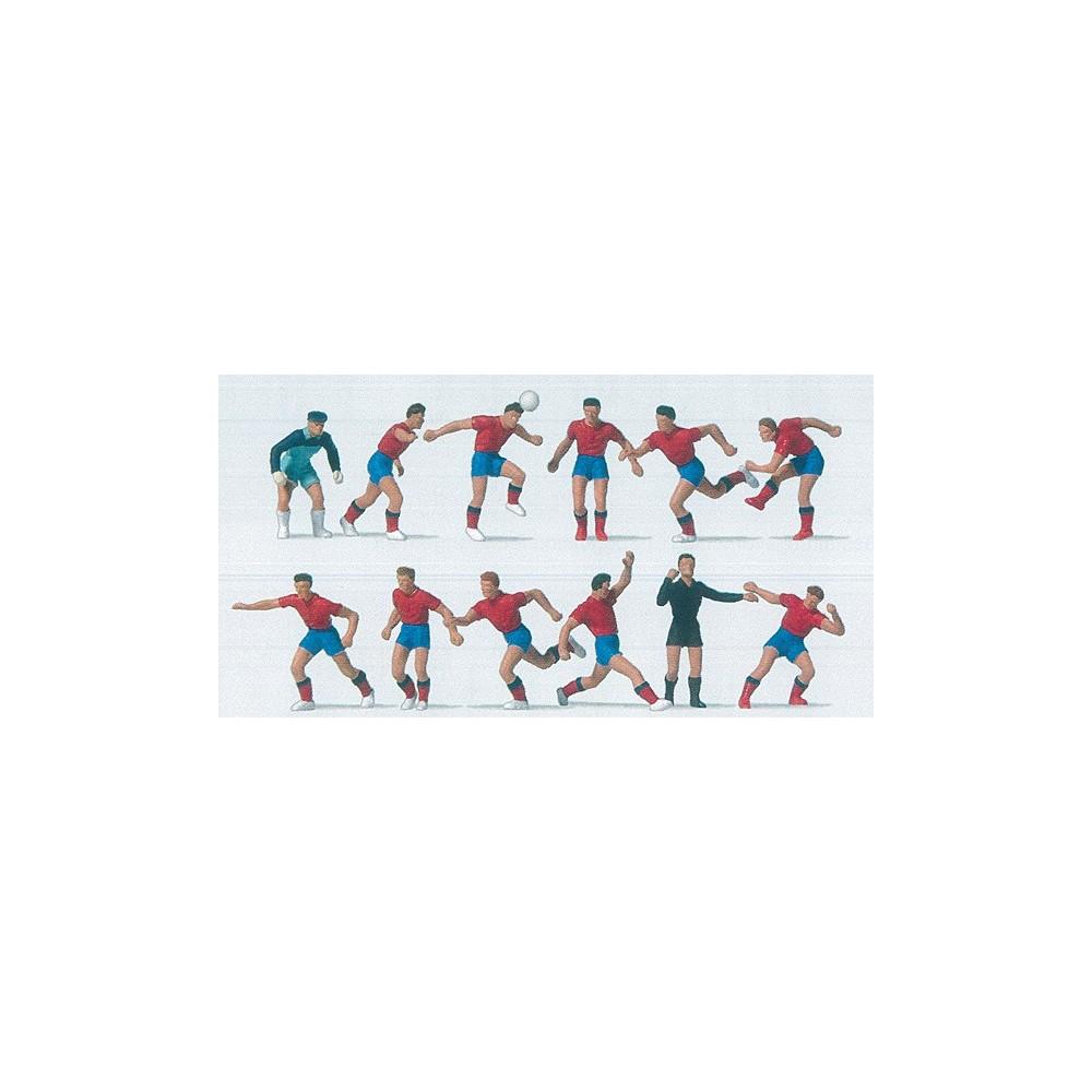 Preiser 10760 Personnages, Equipe de foot bleu rouge / bleu