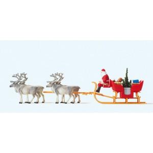 Preiser 30399 personnage, Père Noël sur traineau avec rennes