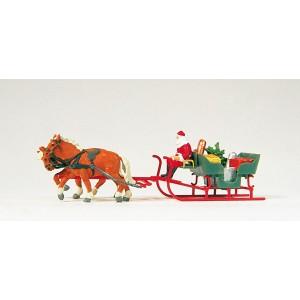 Preiser 30448 personnage, Père Noël sur traineau avec chevaux