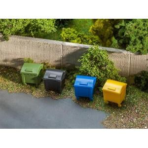 Faller 180343 Maquette, Lot de 4 conteneurs à déchets