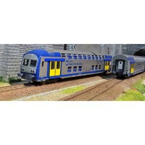 ViTrains 1105L Set de 3 voitures voyageurs VO2N SNCF, livré Nord Pas de Calais, Logo carmillon, avec éclairage