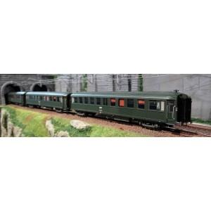 Ree Modeles VB 238 Set de 3 Voitures voyageurs, Bacalan, B11, vert SNCF, logo encadré blanc