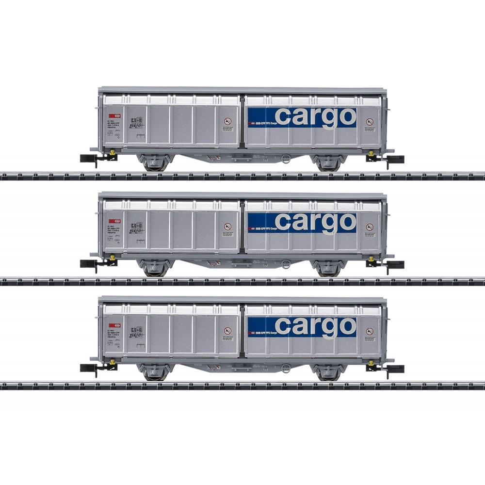 MiniTrix 15282 Set de 3 wagons à parois coulissantes, SBB, Cargo, échellle N