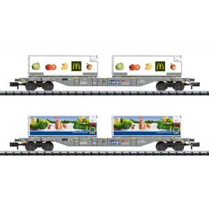 """MiniTrix 15488 Set de 2 wagons porte-conteneurs """"Transport réfrigéré de denrées alimentaires"""", CFF SBB, échelle N"""