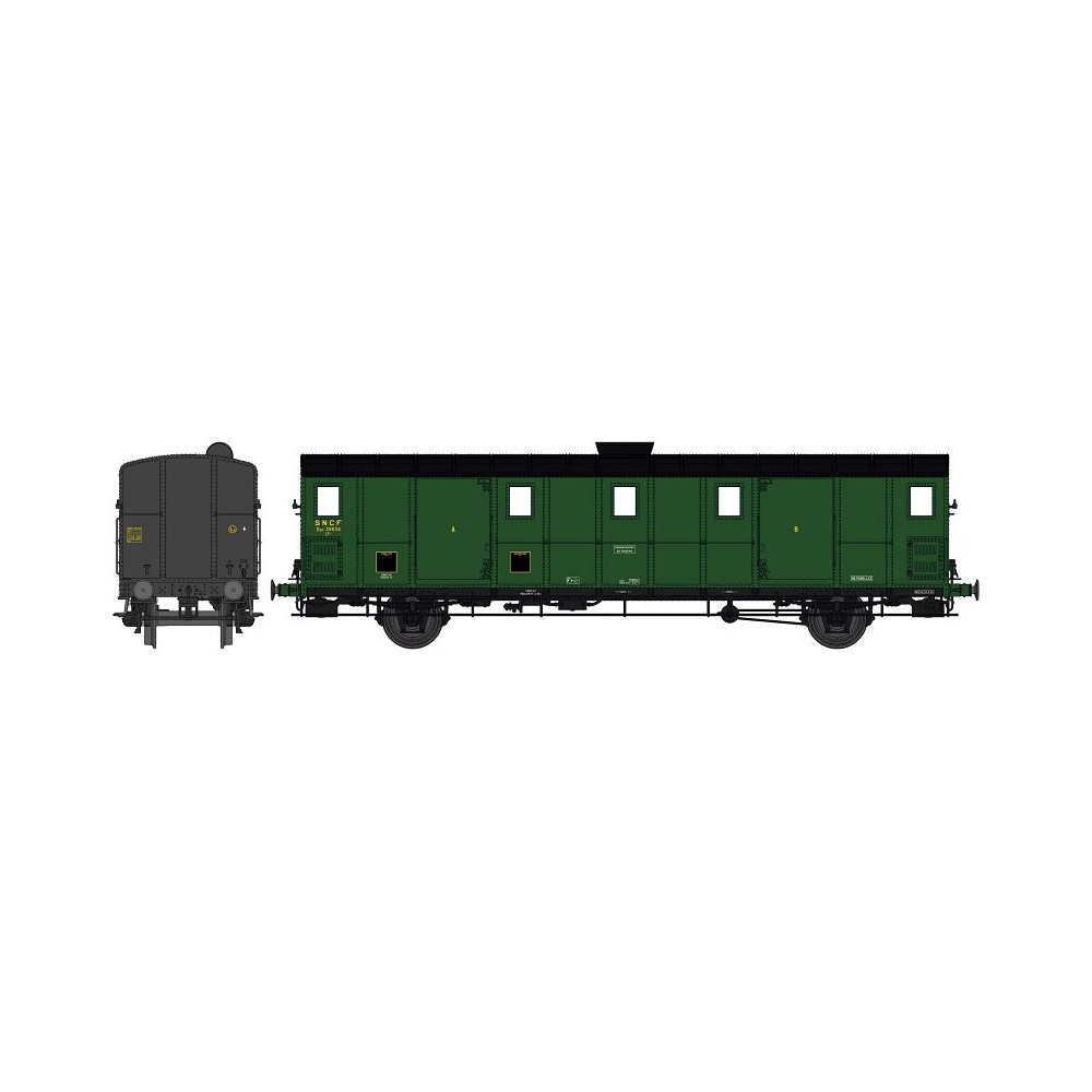Ree Modeles VB 111 Voiture fourgon OCEM 30, toit noir, ex-ETAT, SNCF, BATTIGNOLES