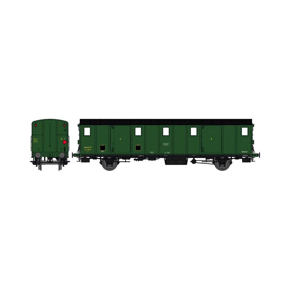 Ree Modeles VB 112S Voiture fourgon OCEM 30, toit noir, ex-ETAT, SNCF, BATTIGNOLES, feux, digital portes motorisées
