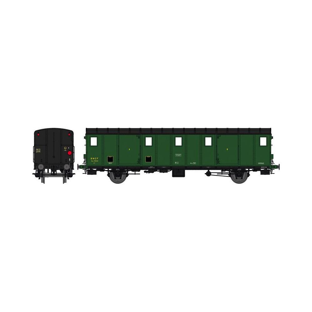Ree Modeles VB 113 Voiture fourgon OCEM 30, toit noir, ex-ETAT, SNCF, SOTTEVILLE, feux