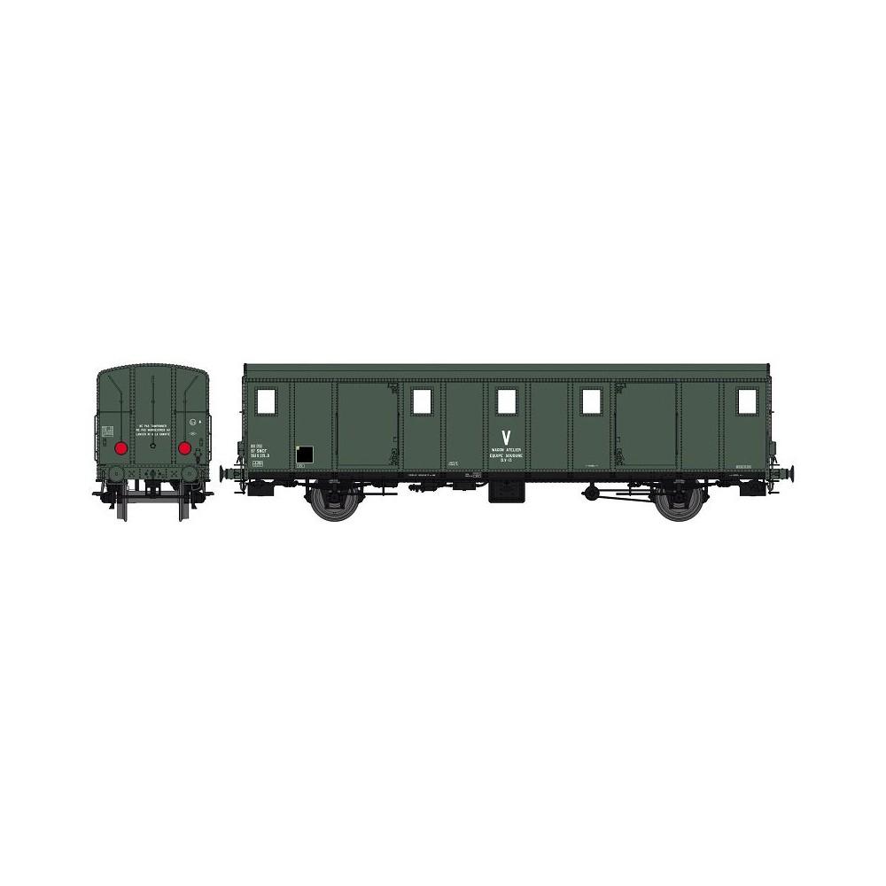 Ree Modeles VB 117 Voiture fourgon OCEM 30, toit lisse, SNCF, wagon atelier, feux