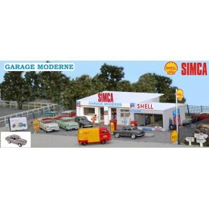 Sai 163 Garage moderne SIMCA, 1950-1960, Station-service Shell et Atelier avec pompes et Simca Aronde P60