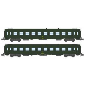 REE Modeles NW 153 Set de 2 voitures UIC B10, vertes, logo jaune, CFL