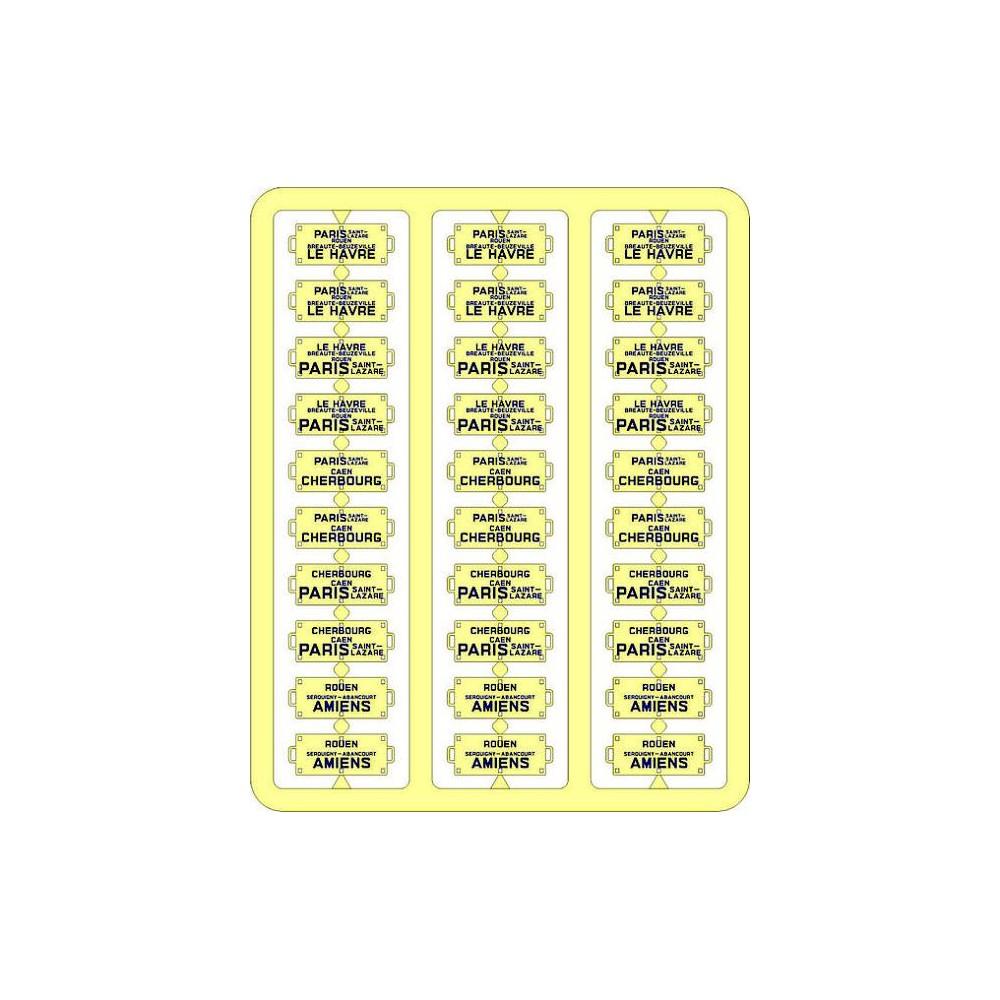 Ree Modeles XB 054 Plaques Itinéraires pour voitures voyageurs, Ouest