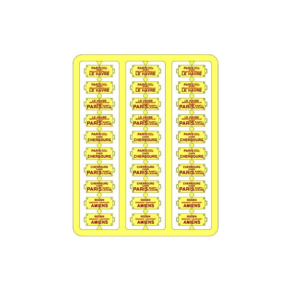 Ree Modeles XB 046 Plaques Itinéraires pour voitures voyageurs, Ouest