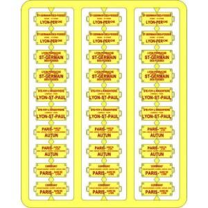 copy of Ree Modeles XB 042 Plaques Itinéraires pour voitures voyageurs, Sud Est, lettres rouges