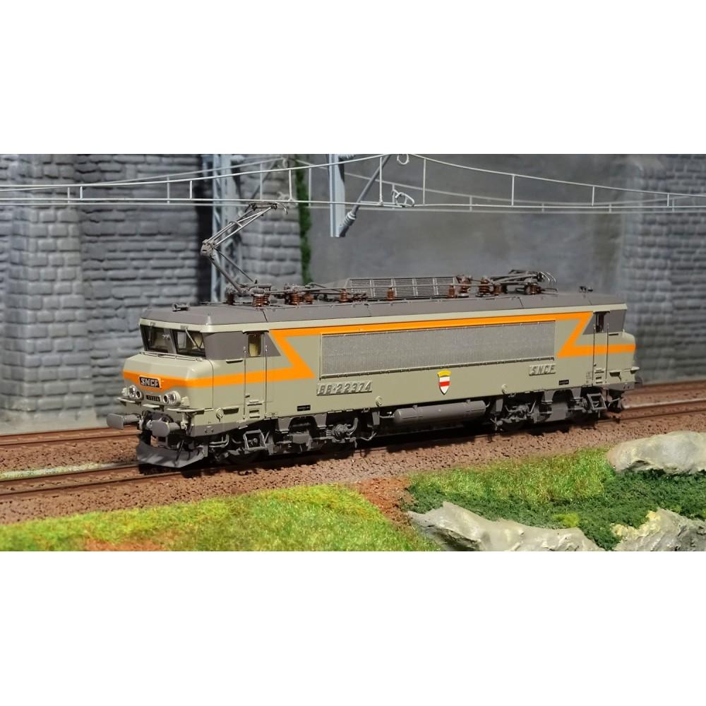 Ls Models 10059S Locomotive électrique BB 22374 SNCF, Gris / Orange, Rennes, blason Noyon, Digitale sonore