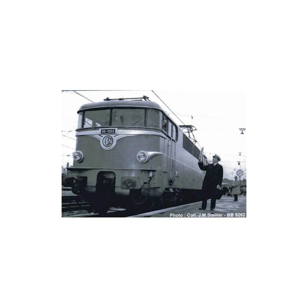 Ree Modeles MB 083.S Locomotive électrique BB 9232, Verte Feux Rouges séparés, Paris SO, sonore, panthos motorisés