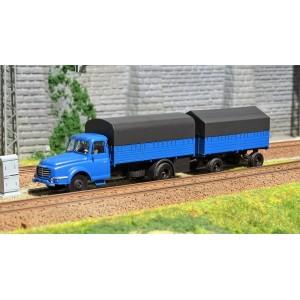 Ree Modeles CB 106 Camion Willeme + Remorque, Bleu Bâché