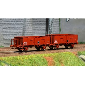 Ree modeles WB479 Set de 2 Wagons Tombereau OCEM 29, brun rouge, SNCF - ep.III