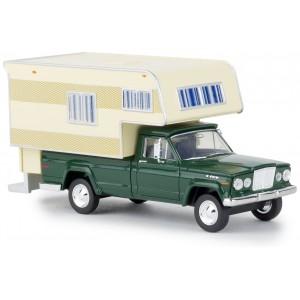Brekina 19835 Jeep Gladiator camping-car, Vert foncé