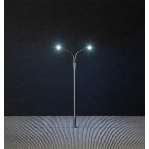 Faller 180201 Eclairage, Lampadaire Double 12cm, avec LED, câblé
