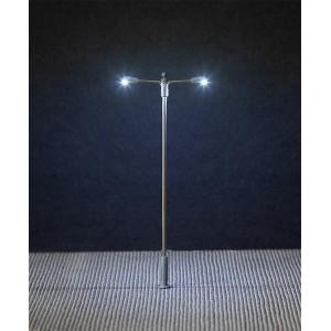 Faller 180203 Eclairage, Lampadaire lampe en prolongement 10cm, deux bras, avec LED, câblé