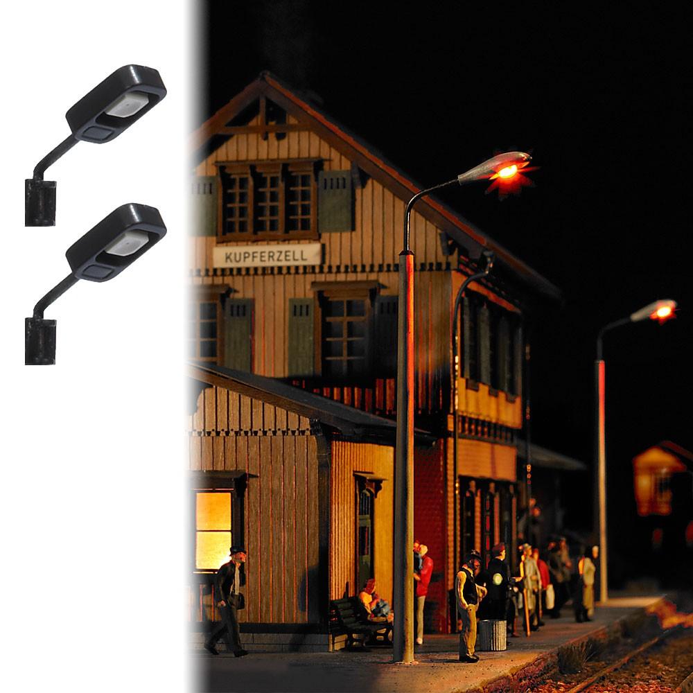Busch 4132 Eclairage, 2 Lampadaires, avec LED, câblé