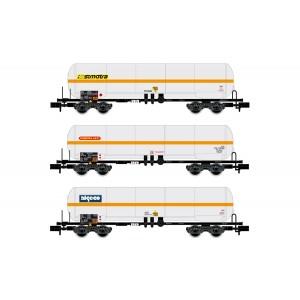 Arnold HN6387 Set de 3 wagons citerne à bogies, SNCF, Ermewa Sati / Millet / Simotra, échelle N