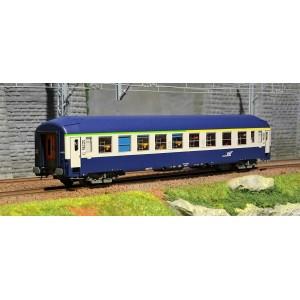 Ree Modeles VB229 Voiture voyageurs UIC couchettes, B4B5, bleu, cartouche corail, toit haut