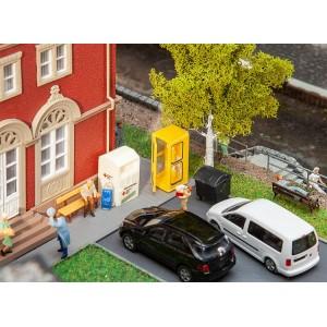 Faller 180452 Maquette, Lot d'aménagement ville, cabine téléphonique, bancs