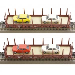 Roco 67086 Set de 2 wagons à essieux à ranchers, brun, DB, chargés voitures