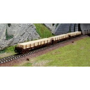 """Fleischmann 826810 Set de 3 wagons à ranchers """"Holzzugwagen"""", ÖBB"""