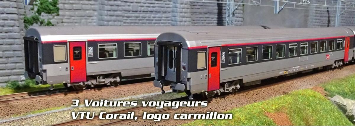 LS Models 40139 Set de 3 Voitures voyageurs VTU Corail, A10tu + B11tu + B10tu, Logo carmillon