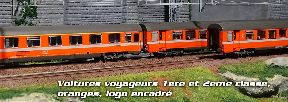 LS Models 40365 Set de 3 Voitures voyageurs, oranges, logo encadré, ep.IV