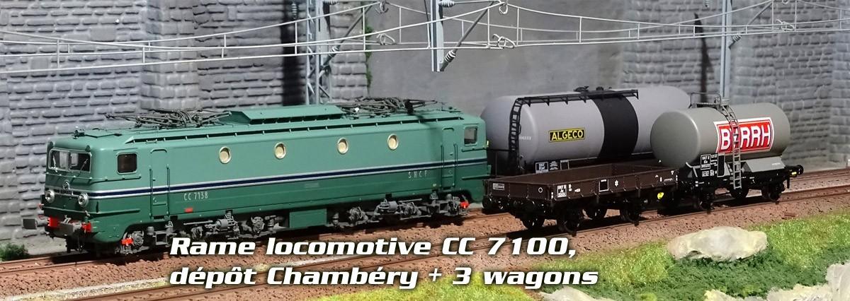 Rame locomotive CC 7124, dépôt Chambéry + 3 wagons marchandise