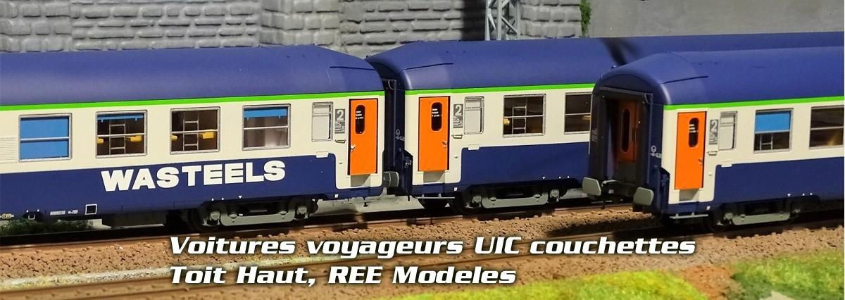 Ree Modeles VB219 Set de 3 voitures voyageurs UIC couchettes, 3x B9C9, bleu, WASTEELS, toit haut