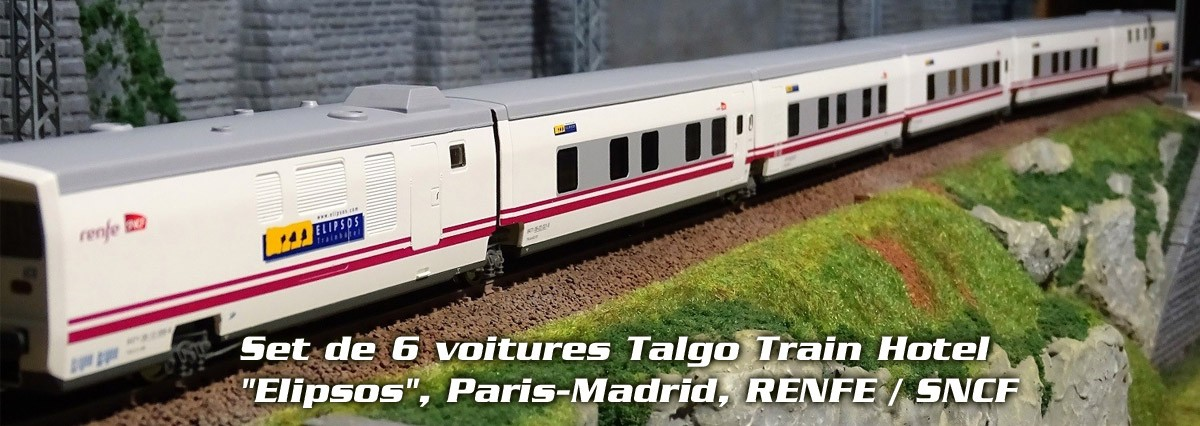 "Electrotren E3272 Set de 6 voitures Talgo Train Hotel ""Elipsos"", Paris-Madrid, RENFE / SNCF"