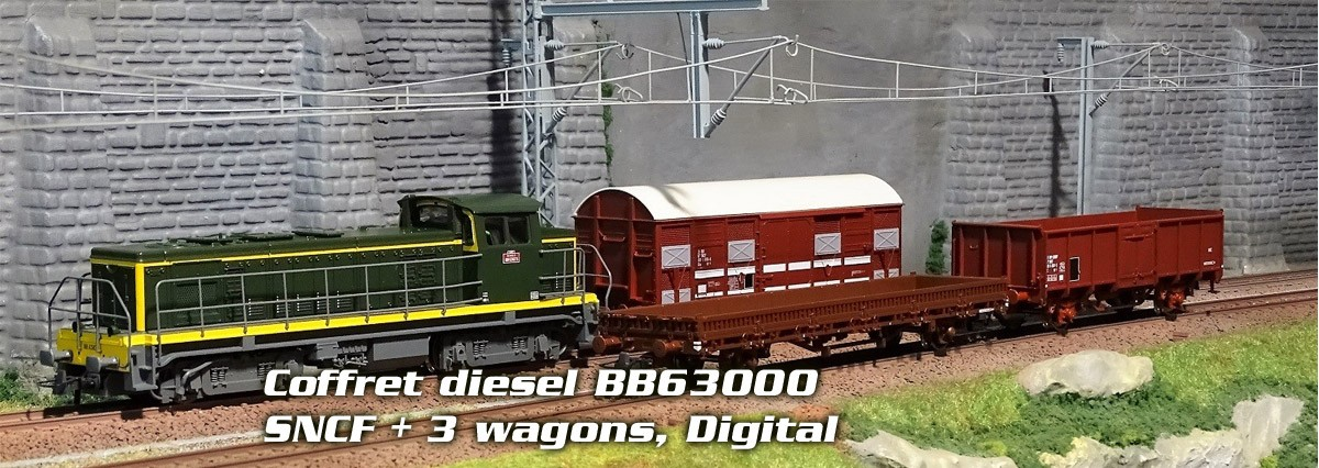Coffret locomotive diesel BB63000 SNCF, avec 3 wagons, Digital
