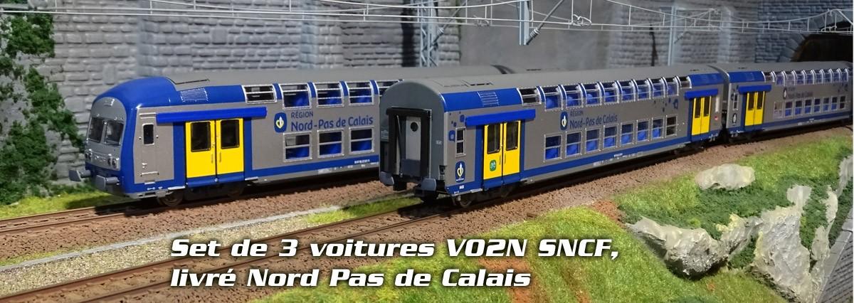 Set de 3 voitures voyageurs VO2N SNCF, livré Nord Pas de Calais
